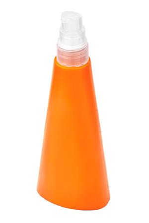 Sun protecting cream orange bottle, isolated on white background