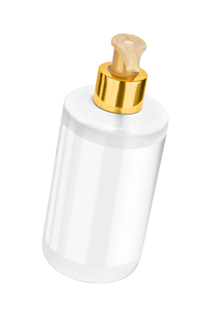 White body lotion plastic bottle with blank label and golden lid, tilted view, isolated on transparent or white background