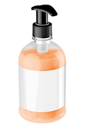 Transparent plastic bottle with orange liquid hand soap, blank label and black dispenser lid, isolated on white background. Tilted view. Stock Photo