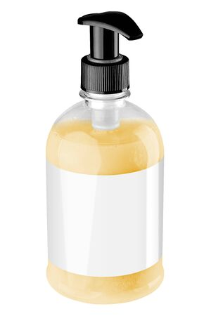 Transparent plastic bottle with yellow liquid hand soap, blank label and black dispenser lid, isolated on white background. Tilted view.
