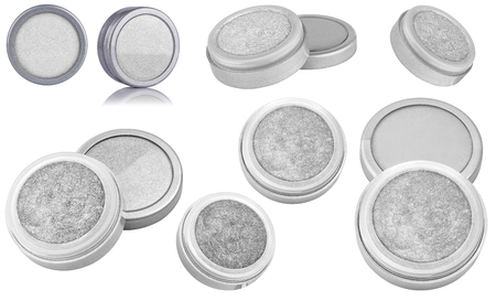 White color cosmetic eyeshadow powder with glitter particles, in round grey container, eight different instances and views of beauty product isolated on white background, clipping path included
