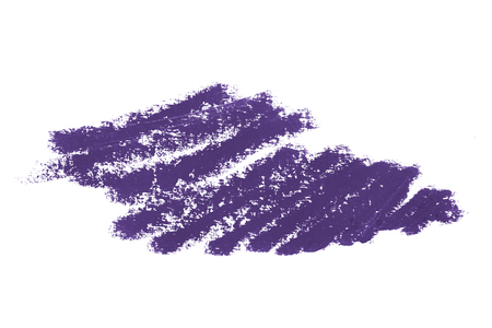Purple color cosmetic eyeliner pencil strokes, beauty product sample isolated on white background