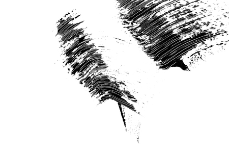 Cosmetic black eyelashes mascara brush stroke sample, isolated on white background