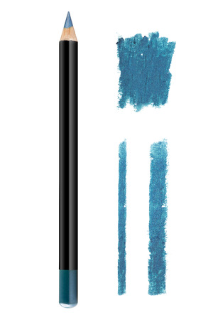 Light pale blue color cosmetic eyeliner pencil and strokes with glitter particles, beauty product sample isolated on white background