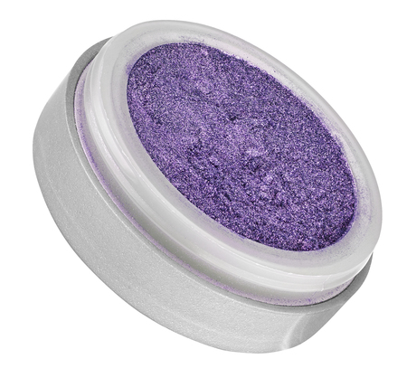 Purple color eyeshadow powder with glitter particles, in round grey open container, tilted view, beauty product isolated on white background Stock Photo