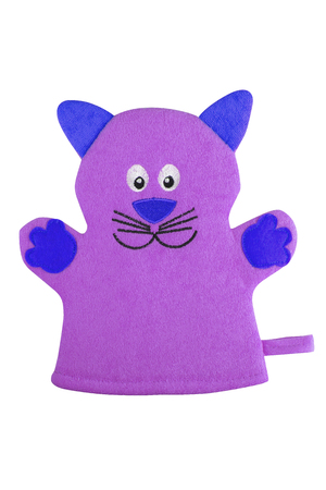 Mauve bath hand glove shaped like a cat with blue ears and paws, isolated on white background, clipping path included