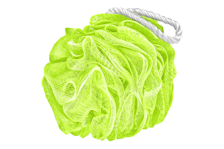 Soft lime green bath puff or sponge or scrub, personal hygiene product isolated on white background, clipping path included Stock Photo