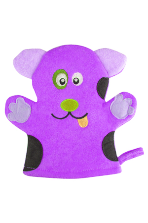 Mauve bath hand glove shaped like a funny dog, isolated on white background, clipping path included