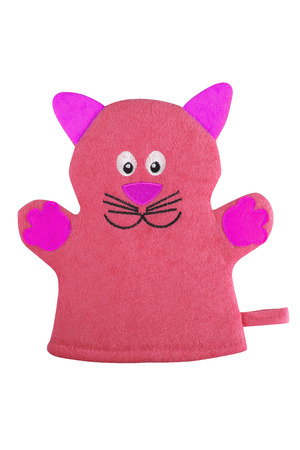 Red bath hand glove shaped like a cat with purple ears and paws, isolated on white background, clipping path included