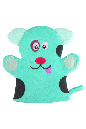 Turquoise bath hand glove shaped like a funny dog, isolated on white background, clipping path included