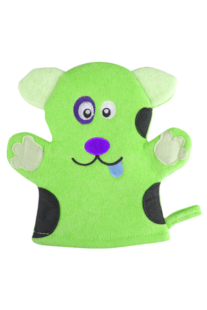 Green bath hand glove shaped like a funny dog, isolated on white background, clipping path included