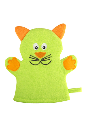 Green bath hand glove shaped like a cat with orange ears and paws, isolated on white background, clipping path included Stock Photo