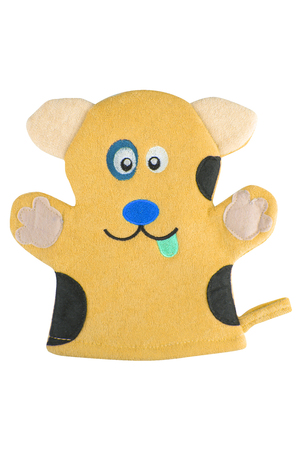 Orange bath hand glove shaped like a funny dog, isolated on white background, clipping path included