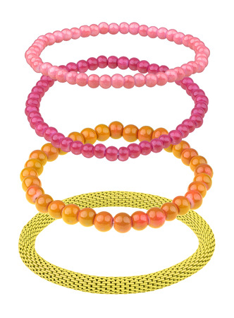 personal ornaments: Set of three elastic bracelets made of pearl-like round beads (pink, purple and orange) and one yellow metallic elastic bracelet, isolated on white background, clipping path included