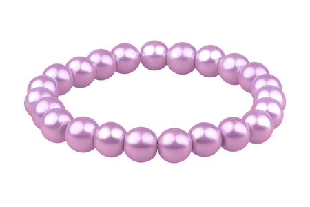 Purple elastic bracelet made of medium pearl-like round beads, isolated on white background, clipping path included