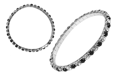 Two instances of an elastic metallic silver bracelet with black and white semiprecious stones, isolated on white background, clipping paths included