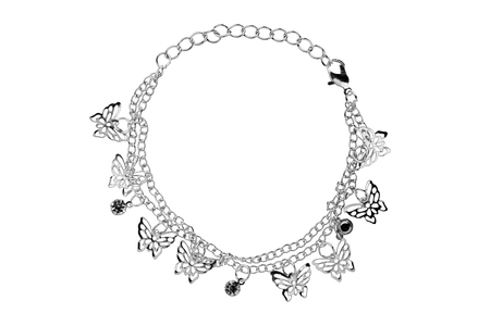 personal ornaments: Silver bracelet with butterflies, isolated on white background, clipping path included