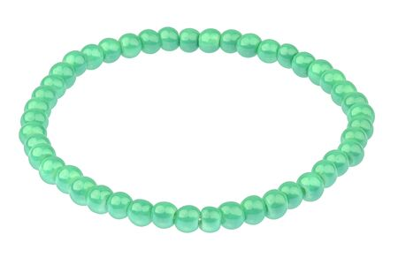 silver: Green elastic bracelet made of very small pearl-like round beads, isolated on white background, clipping path included Stock Photo