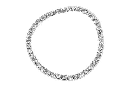 silver: Elastic metallic bracelet with semiprecious stones, isolated on white background