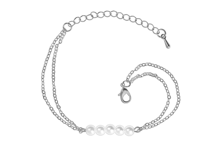 silver: Silver bracelet with five big pearls, isolated on white background, clipping path included