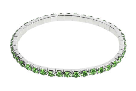 silver: Silver bracelet with green precious stones and gems, isolated on white background