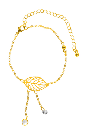 diamond stones: Adjustable gold bracelet with big leaf-shaped charm and two pearls on chains, isolated on white background, clipping path included