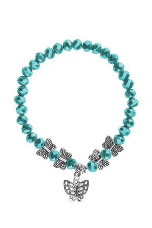 personal ornaments: Elastic bracelet with turquoise irregular beads and silver butterflies charms, isolated on white background, clipping path included