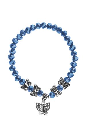 diamond stones: Elastic bracelet with blue irregular beads and silver butterflies charms, isolated on white background, clipping path included Stock Photo