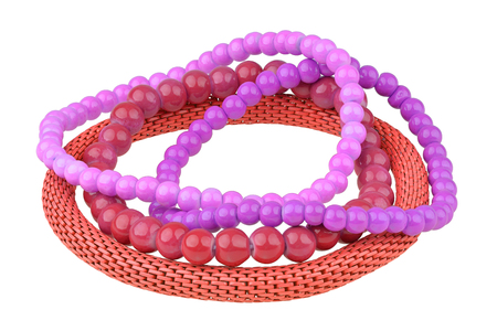 personal ornaments: Set of three purple and red elastic bracelets made of pearl-like round beads and one red metallic elastic bracelet, isolated on white background, clipping path included