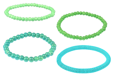 Set of three green elastic bracelets made of pearl-like round beads and one turquoise metallic elastic bracelet, isolated on white background, clipping path included