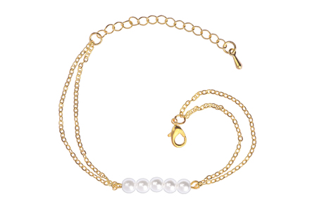 personal ornaments: Gold bracelet with five big pearls, isolated on white background, clipping path included