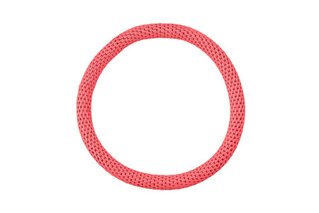 Red elastic metallic round bracelet isolated on white background, clipping path included Stock Photo