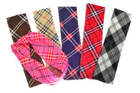 diagonal: Lumberjack Plaid and Buffalo Check Patterns. Red, Black, White and Khaki Plaid, Tartan and Gingham Patterns. Trendy tartan head bands for children. Stock Photo