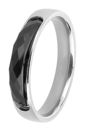 onyx: Silver ring with black onyx precious stone, isolated on white background, clipping path included