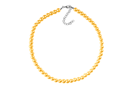 Yellow big elegant necklace made of medium-sized round beads like pearls, fashion item isolated on white background, clipping path included Stock Photo