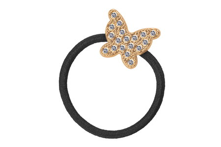 Black textile elastic hair rubber scrunchy with big golden butterfly-shaped decoration and small diamonds, isolated on white background, clipping path included 版權商用圖片
