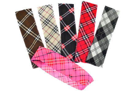 Lumberjack Plaid and Buffalo Check Patterns. Red, Black, White and Khaki Plaid, Tartan and Gingham Patterns. Trendy tartan head bands for children. Stock Photo