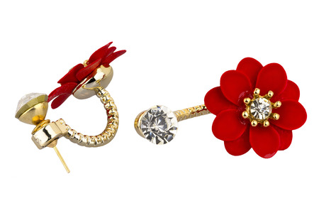 Pair of double silver earrings, with diamonds and big red flower, isolated on white background, clipping path included