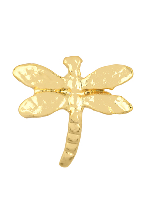 Close-up of elegant golden dragonfly-shaped earrings isolated on white background, clipping path included
