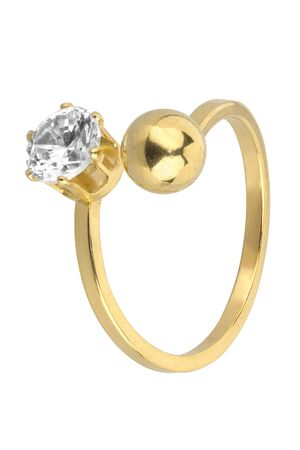 Adjustable woman gold ring with one diamond and one golden ball, isolated on white background, clipping path included