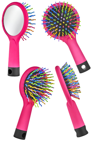 Set of four instances of a red hair comb brush for children, with handle and mirror on the back, isolated on transparent or white background