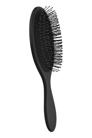 Elegant black hair comb brush with handle, isolated on transparent or white background