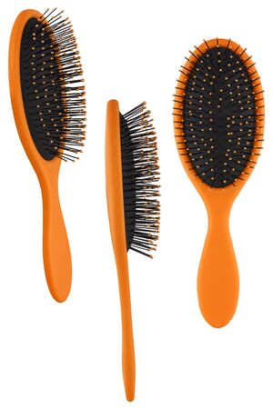 Set of three instances of an elegant orange hair comb brush with handle, isolated on transparent or white background
