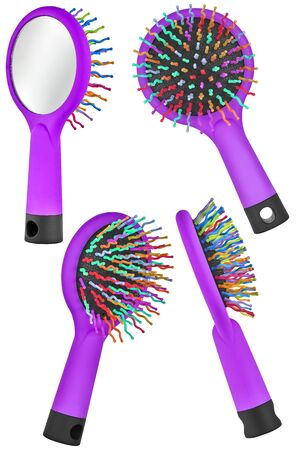 Set of four instances of a purple hair comb brush for children, with handle and mirror on the back, isolated on transparent or white background