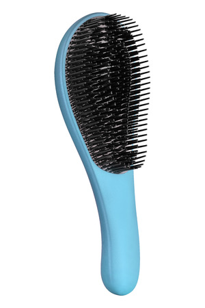 Blue hair comb brush with handle for all hair types, isolated on white background, clipping path included