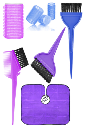 hair roller: Set of six hair dyeing and styling tools and accessories: hair curlers, dyeing hair brushes and hair dyeing waterproof cape, isolated on transparent or white background
