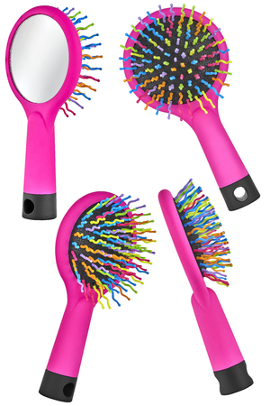 Set of four instances of a magenta hair comb brush for children, with handle and mirror on the back, isolated on transparent or white background
