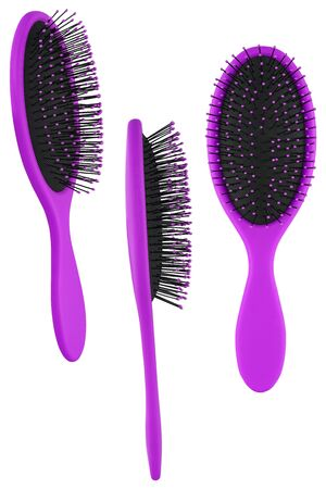 Set of three instances of an elegant purple hair comb brush with handle, isolated on transparent or white background