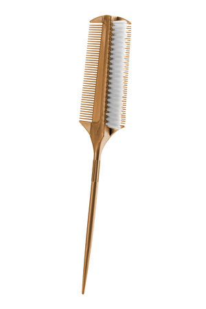 Yellow tapping hair comb brush with long handle, isolated on white background, clipping path included