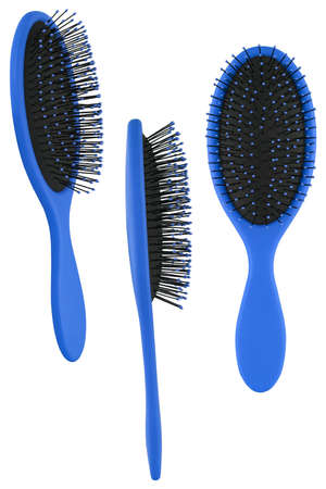 Set of three instances of an elegant blue hair comb brush with handle, isolated on transparent or white background